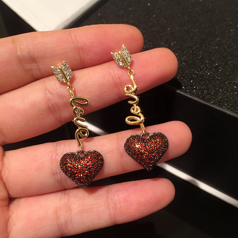 heartbeat red heart earrings  feathers wear arrow luxury fashion jewelry crystal rhinestone