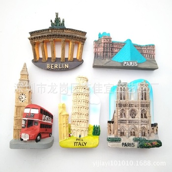 3D Resin Fridge Magnets Italy Berlin France Paris London Switerland Tourism Souvenir Magnetic Refrigerator Stickers Home Decor 1