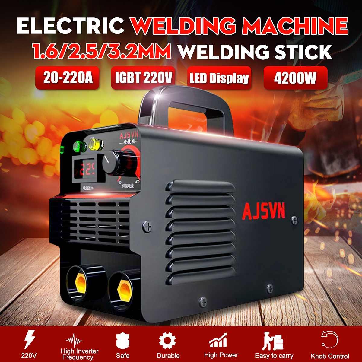 New Display Tool IGBT Inverter Adjustable Arc Mini 225A 4200W Digital Welding Handheld Portable Welder 20A Machine 220V Welding