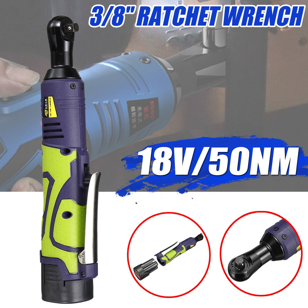 Charger 42V 3//8/'/' Cordless Electric Ratchet Socket Wrench Spanner Gun 2 Battery
