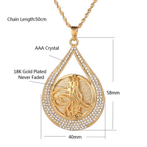 Image 5 - Turkey Coin Pendant Allah Necklace for Women/Men Gold Color Metal Coins Muslim Necklace Jewelry Turk Gifts With AAA Rhinestone