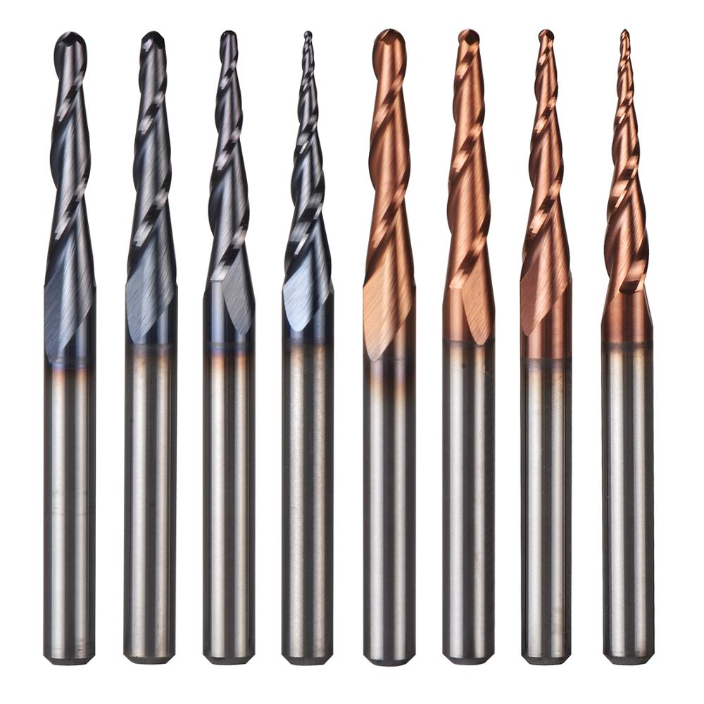 5pcs/lot Tungsten Solid Carbide Inch Size 3.175mm Ball Nose Tapered End Mill Router Bits Cnc Taper Wood Metal Milling Cutter