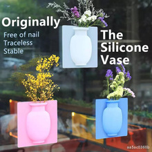 Sticky-Vase Flower-Plant Home-Decoration-Accessories Wall Silicone Removable DIY And