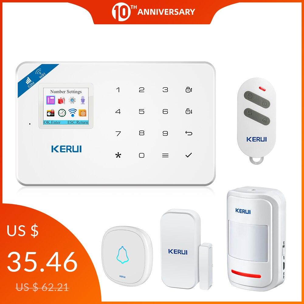 KERUI W18 WIFI GSM Security Alarm System Auto Dial 6 Designated Phone App Control Customize Motion Detector Sensor Burglar Alarm