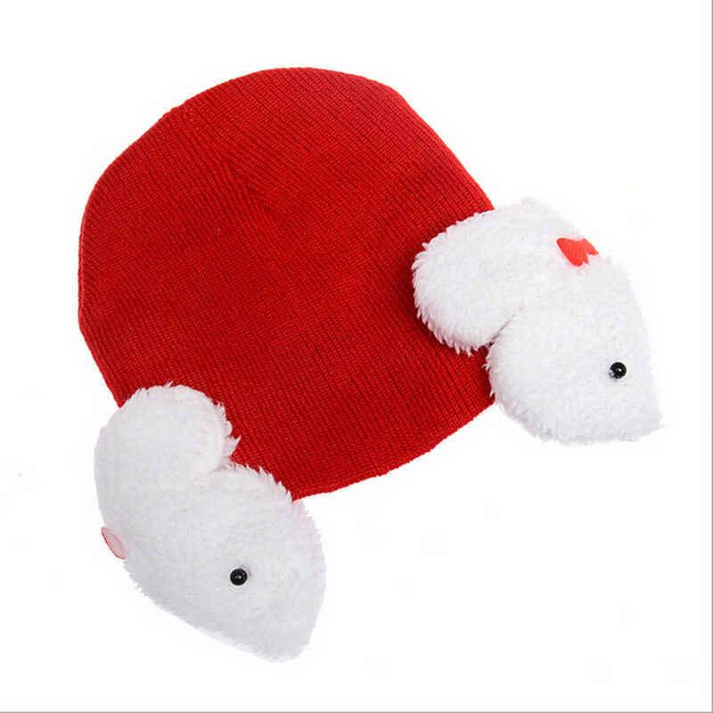 ฤดูหนาวน่ารักเด็กทารกเด็กผู้หญิงถักกระต่ายถักหมวกหูหมวกหมวกอบอุ่น