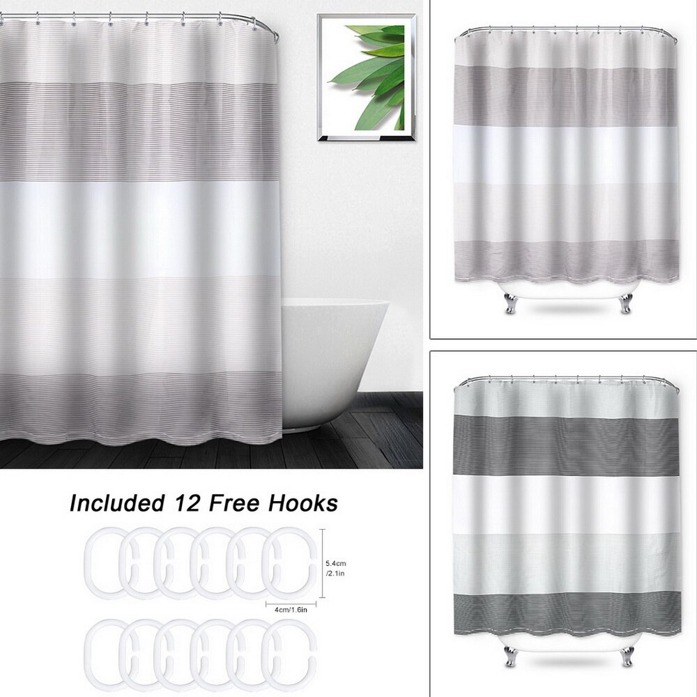Black White Stripe Polyester Waterproof Bathroom Fabric Shower Curtain 12 Hook