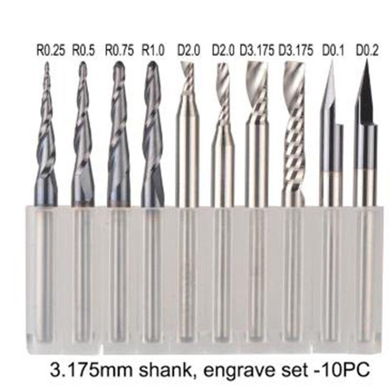 CNC Solide Hartmetall Gravur Bits Fräsen Cutter Holzarbeiten Set 3,175 Mm Schaft Router Bits für Carving Holz Werkzeuge