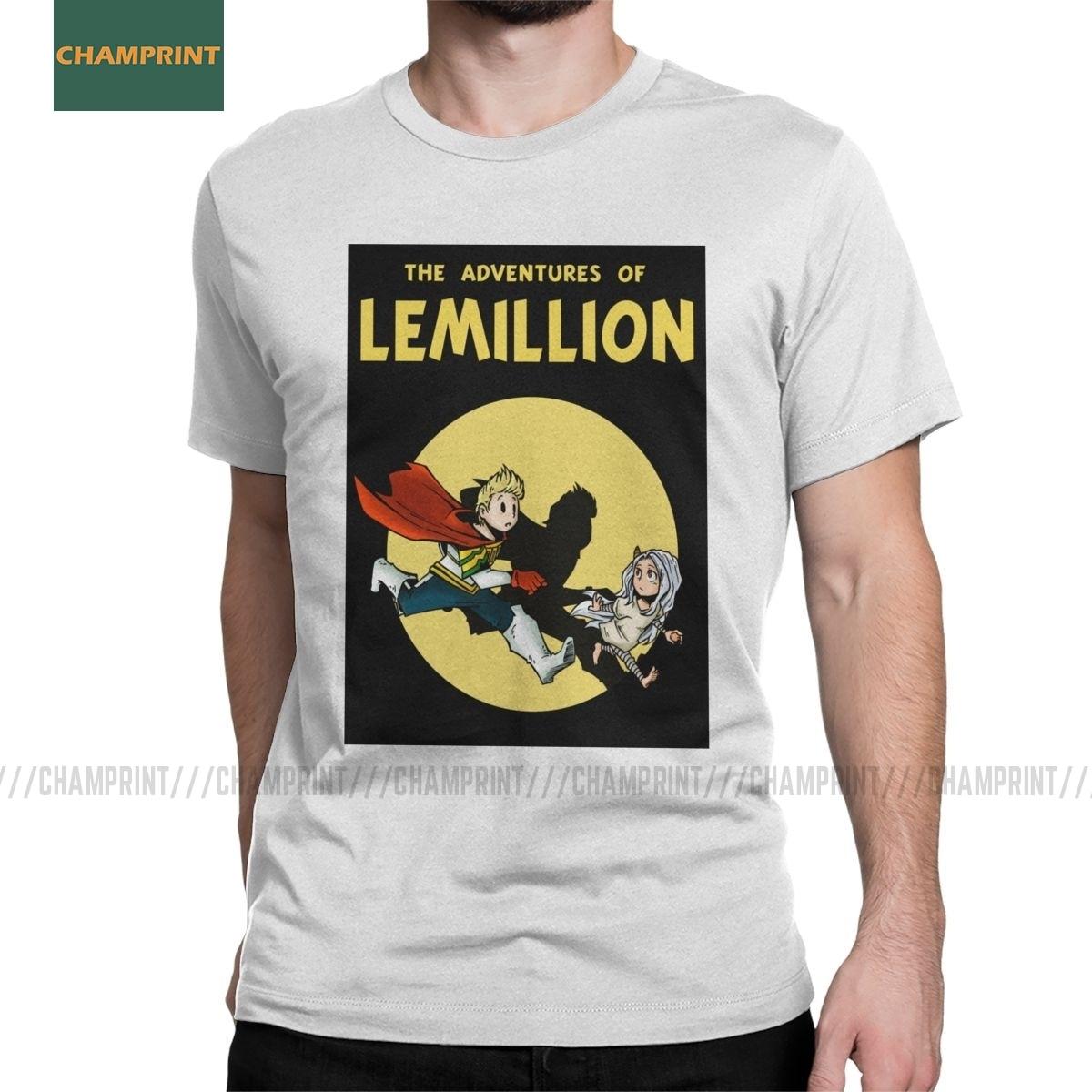 Lemillion Tintin Boku No Hero Academia Men's T Shirts Manga Bakugo Katsuki All Might Anime Tees Short Sleeve T-Shirt Cotton