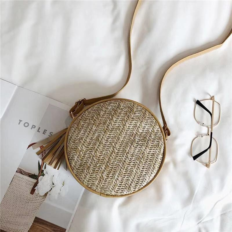 Female Tote vintage Bags Summer Straw Beach Bag Round Woman 39 s Shoulder Bag Handbag Bohemian Travel Shopping bamboo bag in Shoulder Bags from Luggage amp Bags