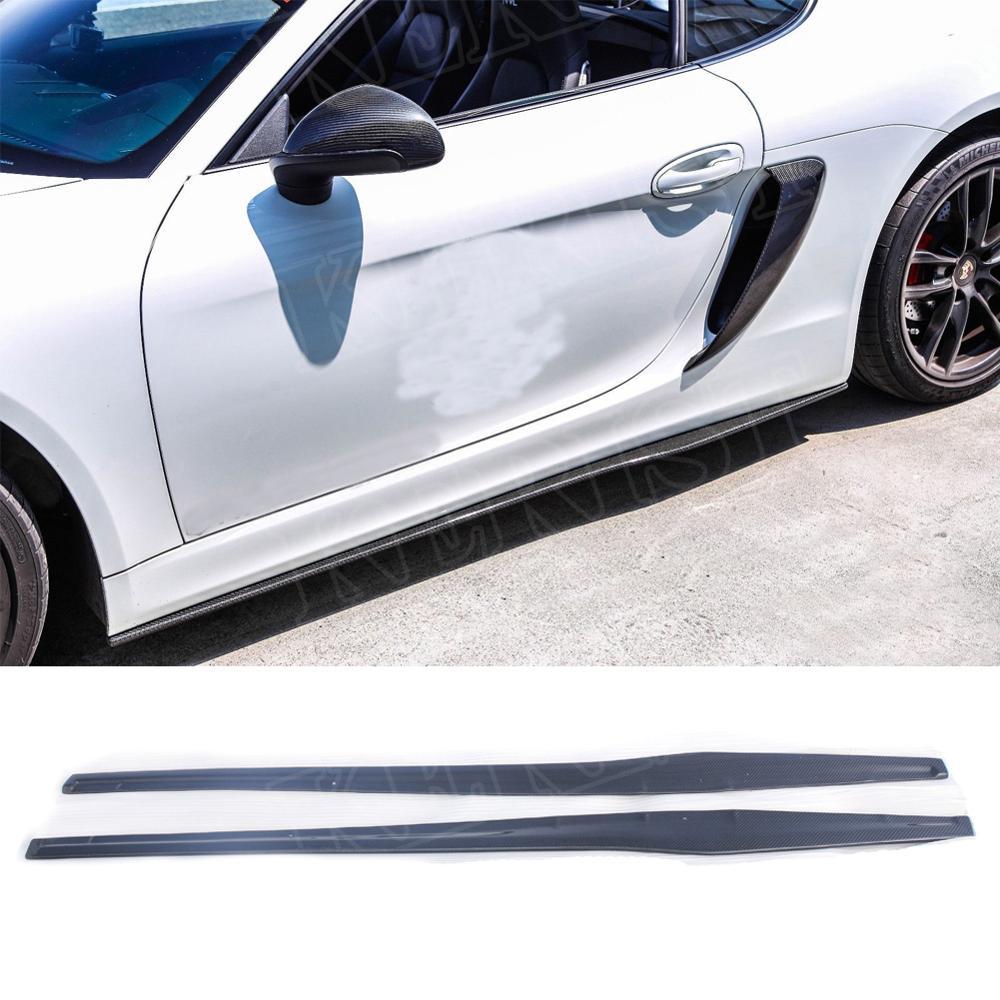 Углеродное волокно Боковой бампер юбки боковые юбки расширение автомобиля Стайлинг для Porsche 981 boxster cayman 2013-2016