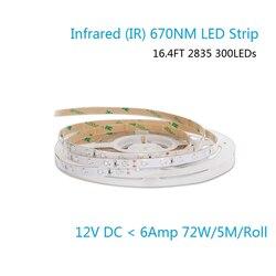 670NM красный SMD2835 гибкий светодиодный ленты 60 светодиодный s/m 8 мм Ширина, DC12V, 12 Вт/м водонепроницаемый IP67 светодиодный лента