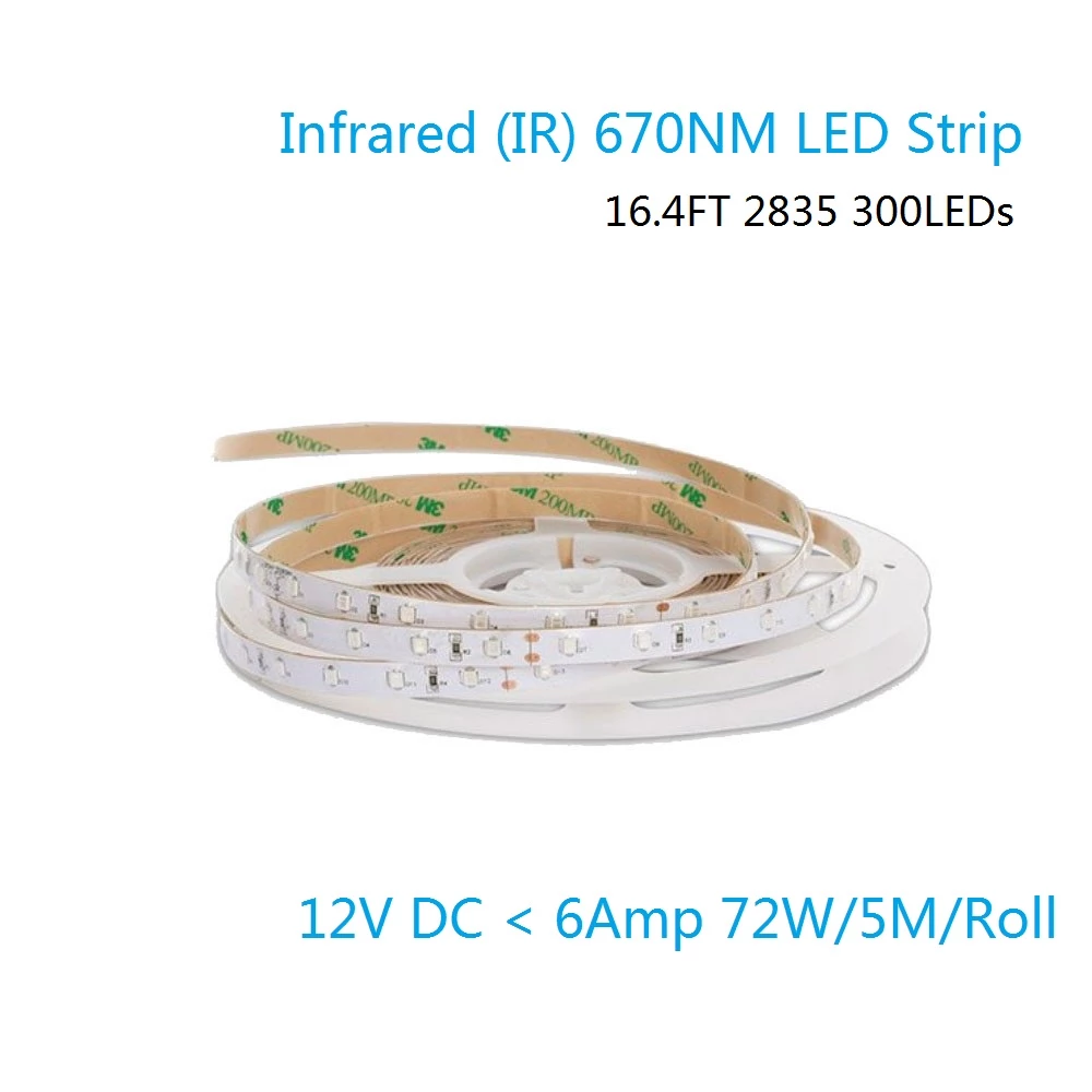 670NM Red SMD2835 Flexible LED Strips 60leds/m 8mm Width,DC12V,12W/m waterproof IP67 LED tape