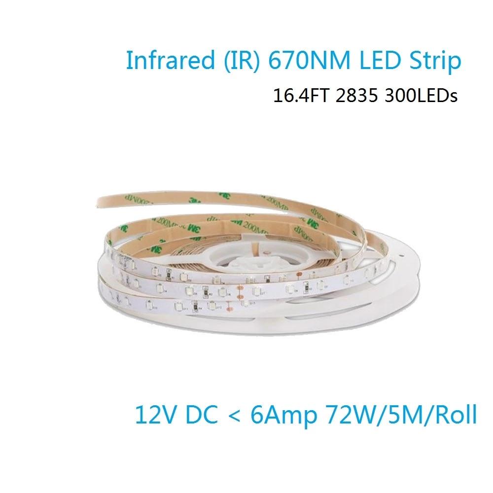 Tiras LED flexibles de 670NM rojo SMD2835 60 leds/m 8mm de ancho, DC12V, 12 W/m cinta LED IP67 impermeable