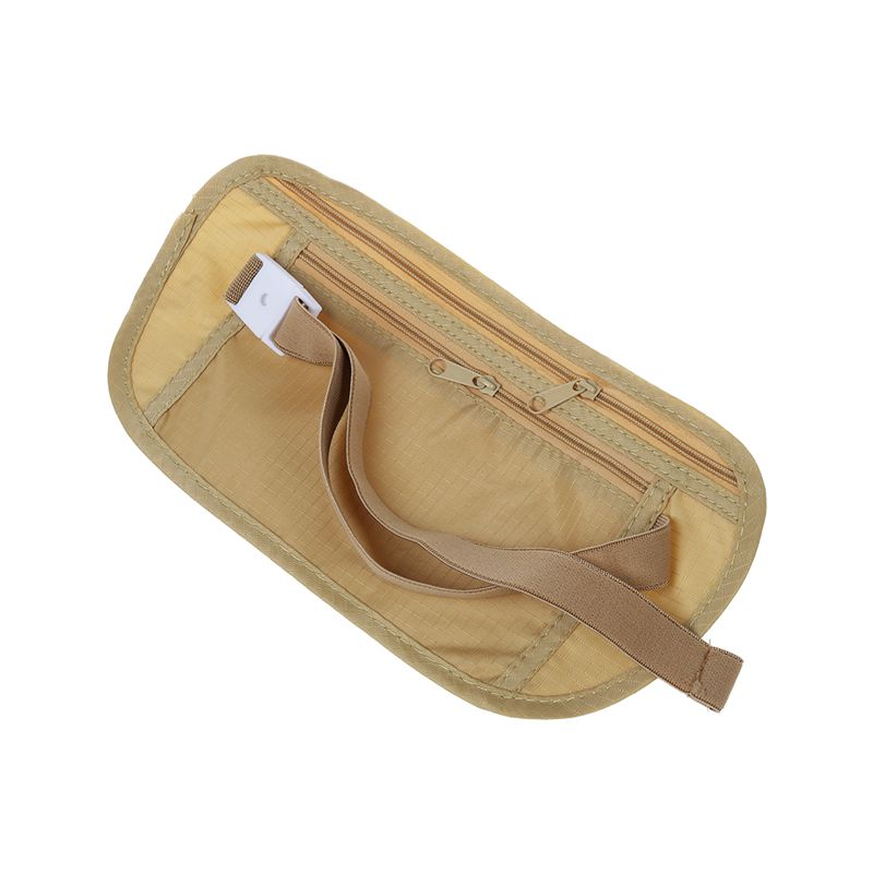 Money Travel Waist Belt Zipped Passport Wallet Pouch Bum Bag Security-Khaki