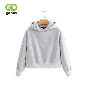 GOPLUS 2021 New Brand Hoodie Streetwear Hip Hop Black White Gray Hooded Hoodies Drop-Shoulder Short Hoodies and Sweatshirts 1