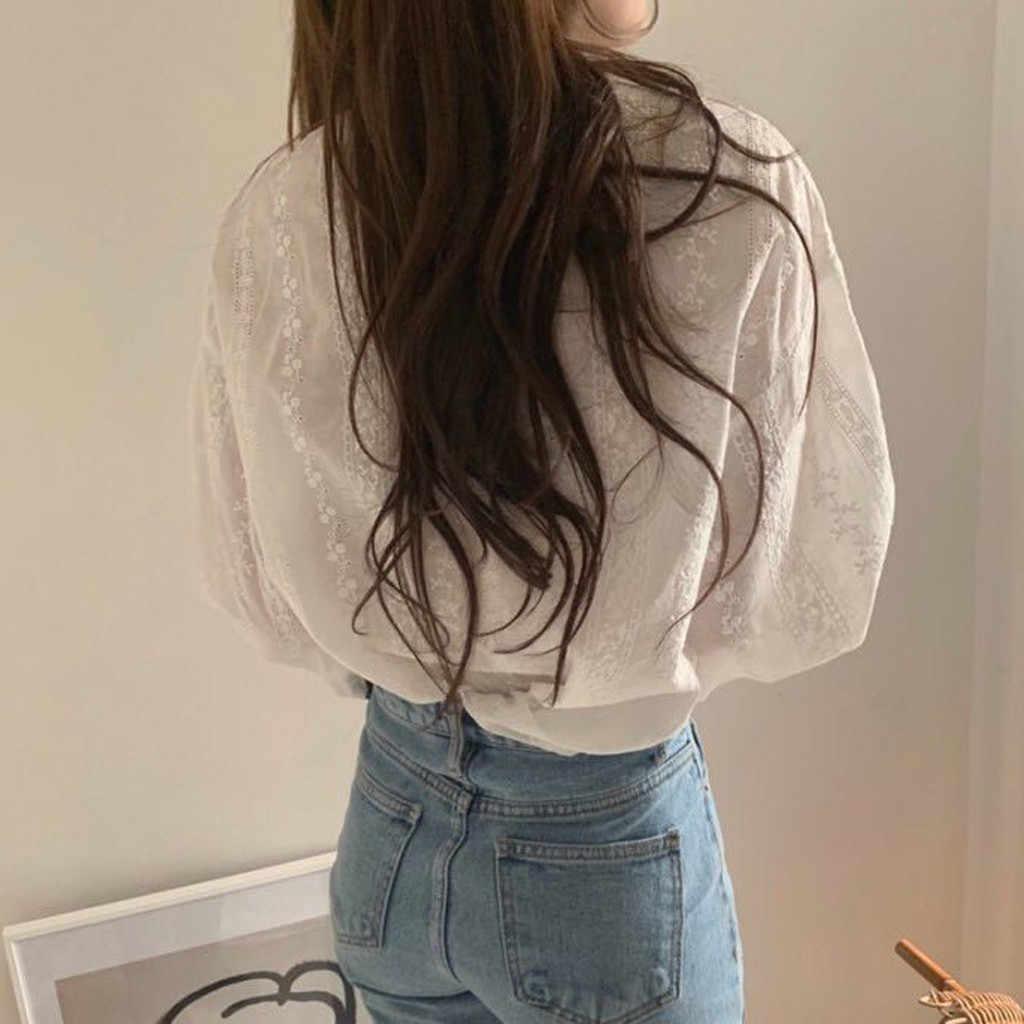 2020 봄 여성 여름 블라우스 한국 긴 소매 랜턴 슬리브 여성 꽃 레이스 o-넥 캐주얼 탑스 빈티지 셔츠 탑스