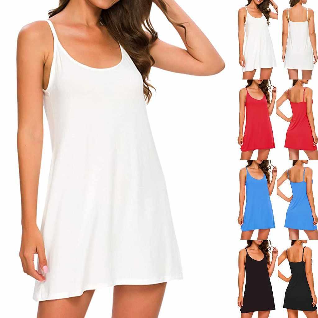 Wanita Musim Panas Gaun Fashion Dasar Longgar Atasan Kasual Warna Solid O-Leher Tali Spaghetti Di Bawah Gaun Mini Pendek Jubah Femme