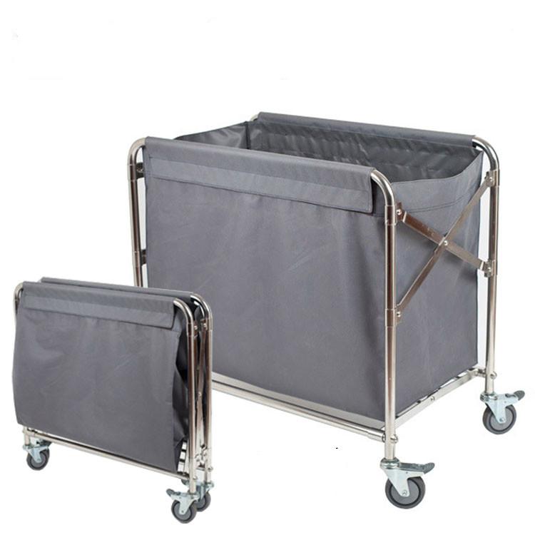 Folding Linen Cart Hotel Stainless Steel Collection Trolley Room Entrance Hotel Service Car Room Sanitation