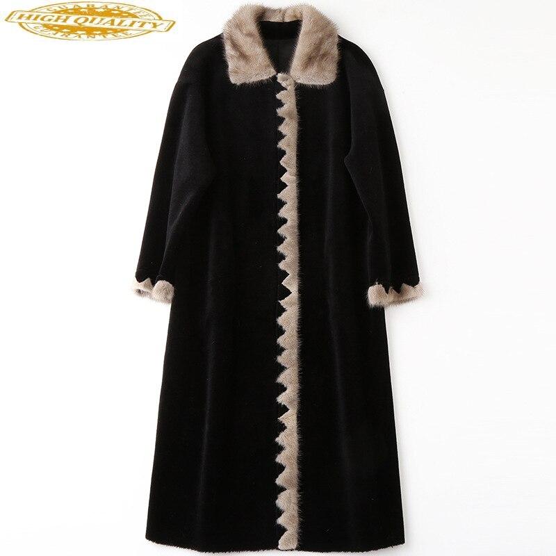 Autumn Winter Real Fur Coat Women Clothes 2020 Sheep Shearing Wool Jacket Mink Fur Collar Abrigo Mujer HQ18-ZZH1821C