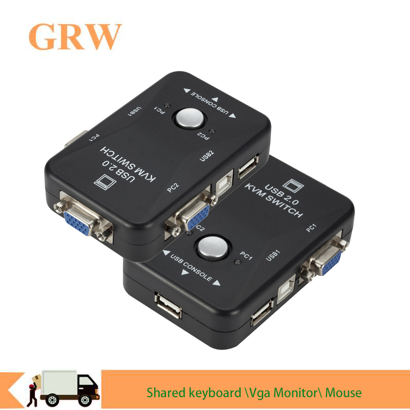 USB Sharing KVM Switch Switcher 2 Port VGA SVGA Switch Box USB 2.0 Mouse Keyboard Printer Switch For 2 Computer Share Kvm