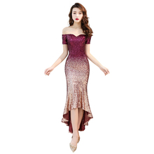 Evening Dress Short Sleeve Elegant Women Party Dresses 2019 Boat Neck Sequin Robe De Soiree Off The Shoulder Formal Gowns F097 short sleeve off shoulder blouses for kids tulle polyester sequin party dresses