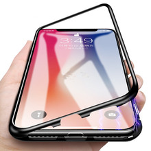 Metal Magnetic Case For iPhone XR XS MAX X 8 Plus 7 10 Tempered Glass Back Magnet Cases Cover For iPhone 7 6 6S Plus Case metal magnetic case for iphone 11 pro xr xs max x 8 plus 7 tempered glass back cover for fundas iphone 7 8 6 6s plus case bumper