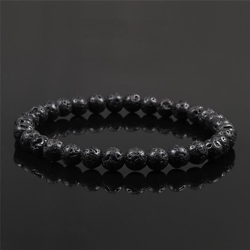 6mm 8mm 10mm Natural Volcanic Stone Beads Bracelets Black Lava Men Bracelet Aromatherapy Essential Oil Diffuser Bangle for Women 4