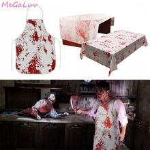 ตกแต่งฮาโลวีน Bloody Handprints ผู้ใหญ่ Butcher Bloody ผ้ากันเปื้อนน่ากลัวสยองขวัญคอสเพลย์ Zombie PARTY Supplies