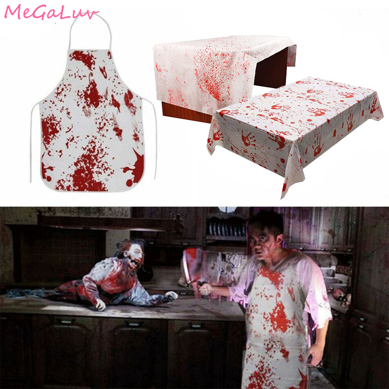 Halloween Decoration Bloody Handprints Adult Butcher Bloody Apron Scary Horror Cosplay Zombie Party Supplies