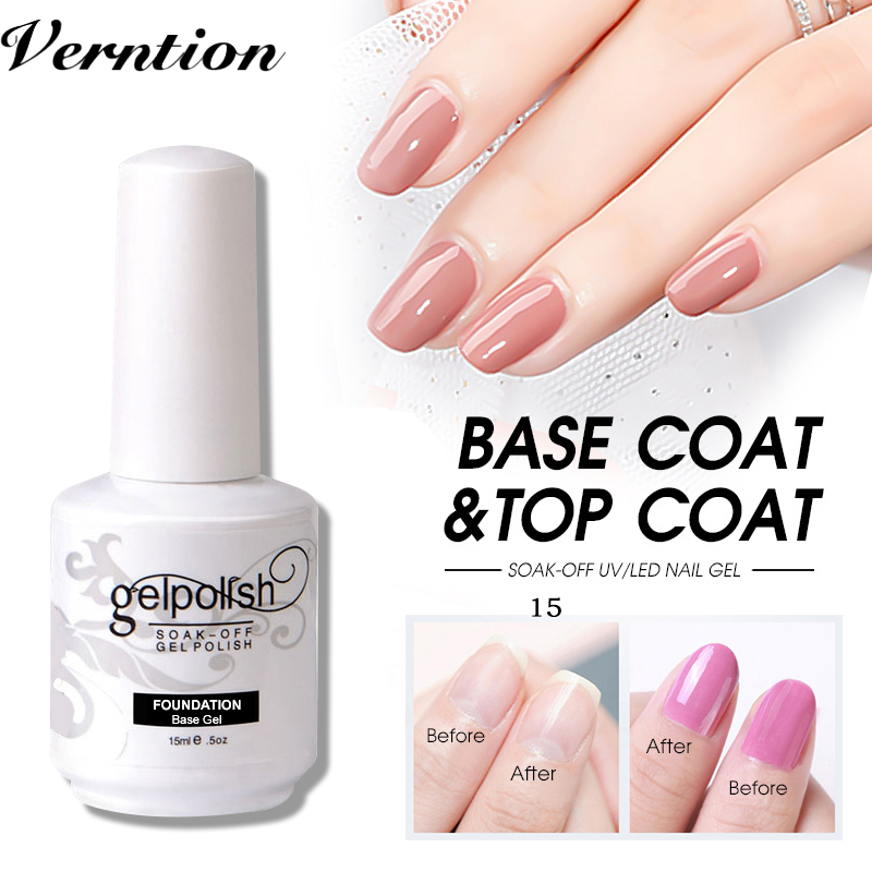 Verntion New Gel Polish Topcoat + Basecoat Nails 15 Ml Base And Top Coat Gel Nails Polish Resistant Soak Off Transparent Nail