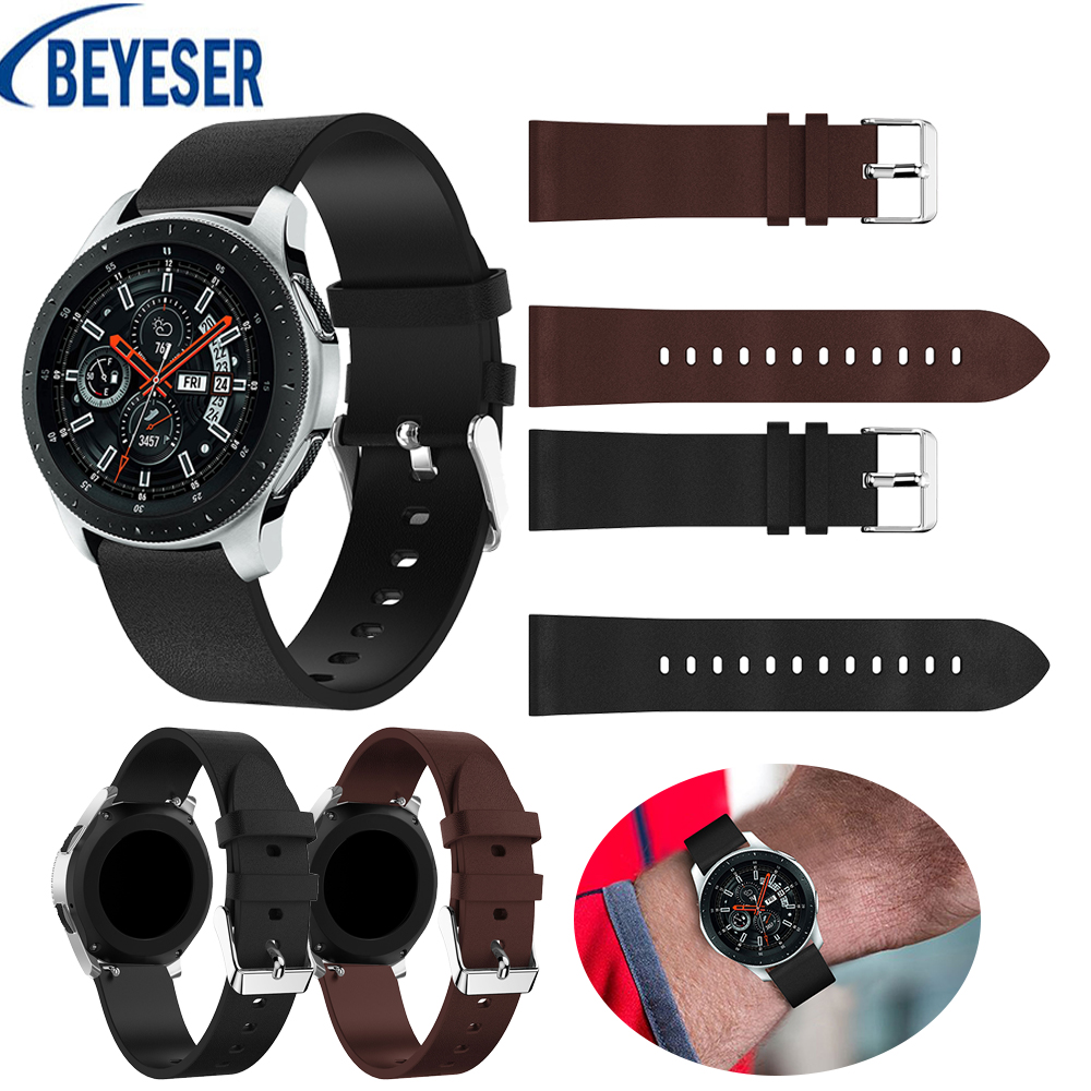 22mm Genuine Sports Goods Fashion Belt Leather Band Replacement Strap For Samsung Galaxy Watch 46mm Wrist Adjustable Bracelet