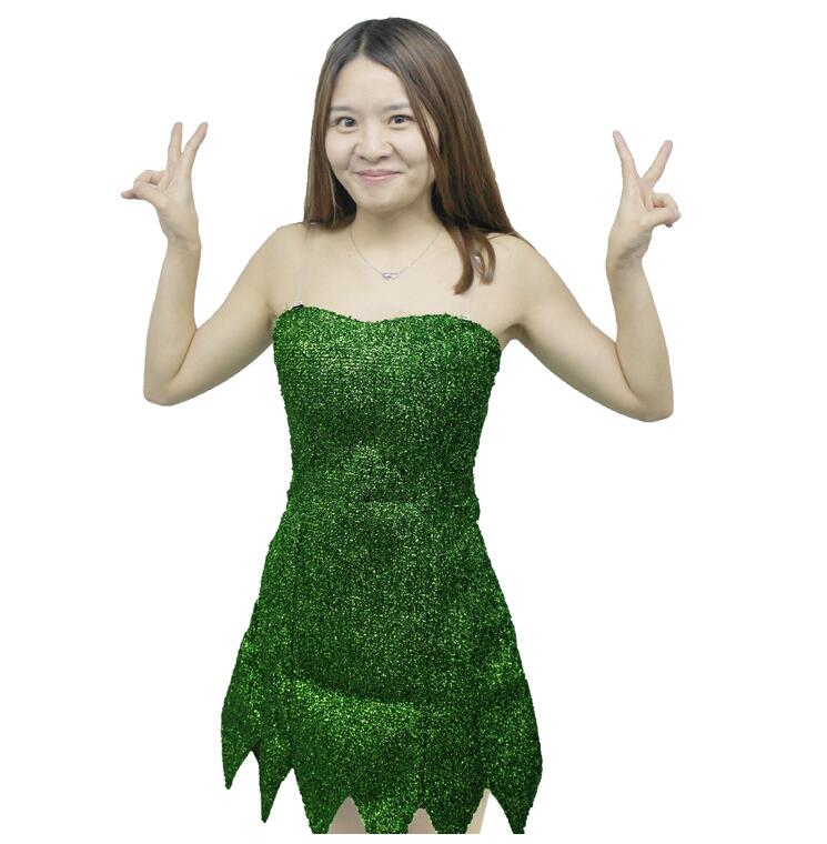 Fairy Tinker Bell Cosplay Tinkerbell Dress Green Pixie Dress Up Adult Costume