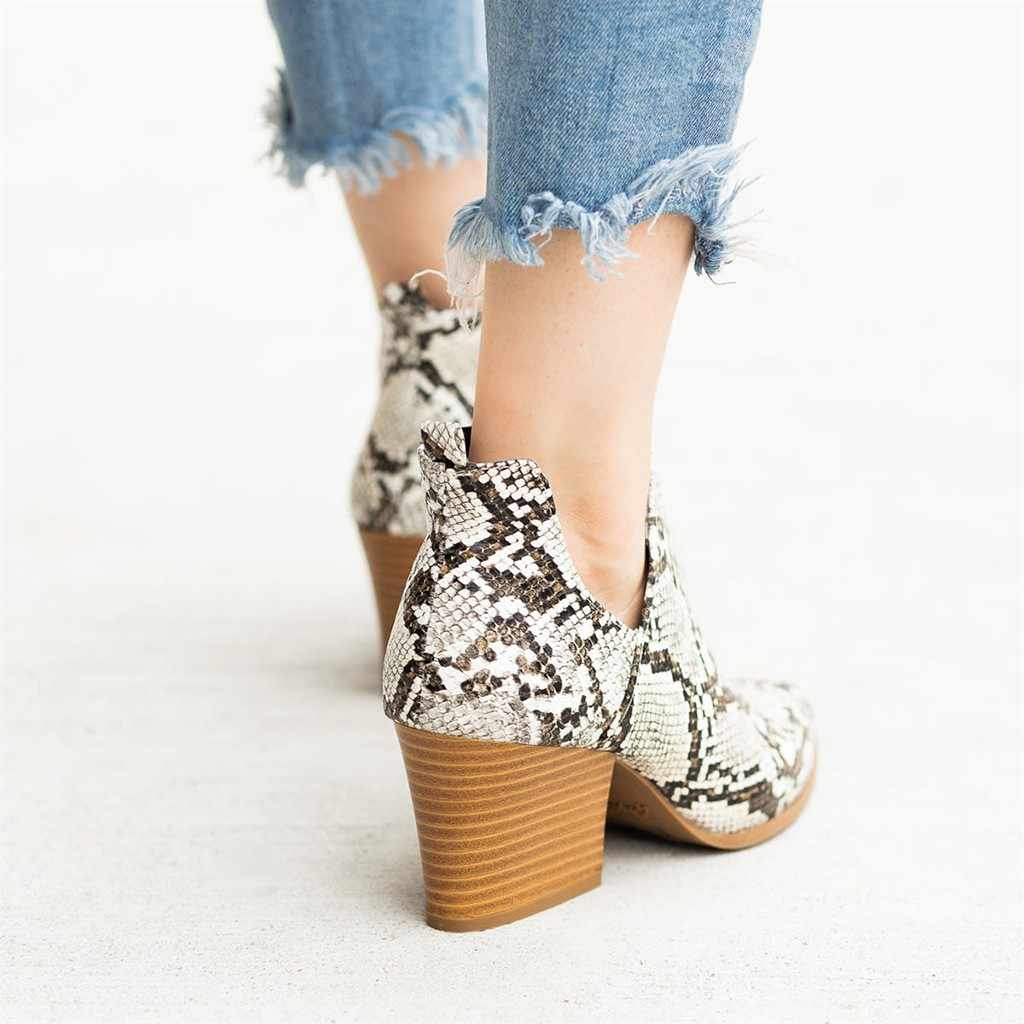 Botas de tobillo de piel de serpiente para mujer, zapatos de moda de leopardo con cremallera, botas casuales de punta estrecha gruesa para mujer, chaissures femme