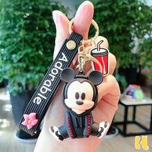 Disney mouse piakchu figura boneca chaveiro para meninas saco encantos pingente de carro chaveiros dos desenhos animados ponto mickey minnie chaveiros