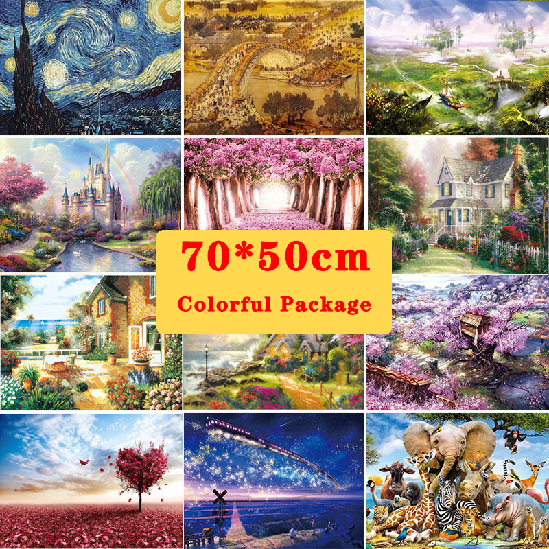 70*50 Jigsaw Puzzles 1000 Pieces Assembling Picture Landscape Puzzles Toys For Adults Children Kids Games Educational Toys