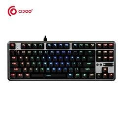 Nowy! CDOO CD702S USB przewodowa klawiatura mechaniczna niebieski/czerwony/czarny przełącznik klawiatura do gier z podświetleniem RGB 87 klawiszy na PC Laptop