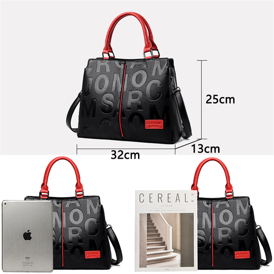 Ladies Quality Leather Letter Shoulder Bags for Women 2021 Luxury Handbags Women Bags Designer Fashion Large Capacity Tote Bag 4