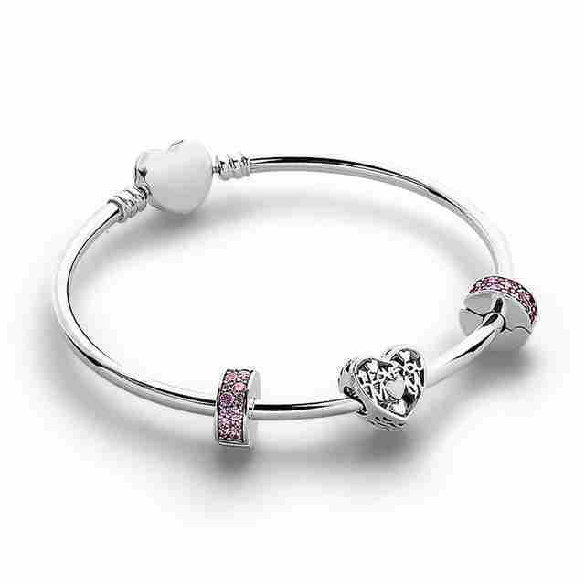 100% 925 silver sterling I love you mom charm pink brilliance spacious elegance clip heart moments a set