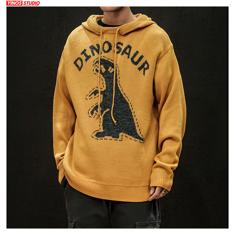 Dropshipping 2019 Japanese Hooded Cotton Swearters Streetwear Causal Thicken Sweater Autumn Male Cartoon Dinosaur Tops