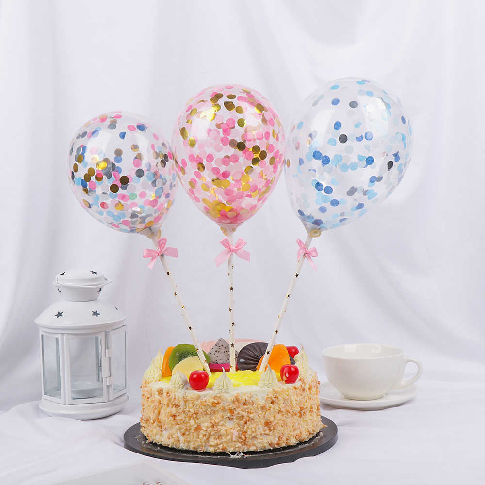 1 Set Van 5 Inch Confetti Transparante Ballon Cake Topper Decoratie Met Papier Stro Lint Bruiloft Verjaardag Baby Shower Party