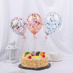 1 conjunto de 5 polegadas de balão transparente, balão para decoração de bolo com fita de palha de papel, festa de aniversário de casamento, chá de bebê