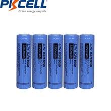 5Pcs PKCELL ICR 18650  3.7v Rechargeable Li ion Battery Lithium batteries 18650 3350mAh Flat Top NO Pcm For Flashlight