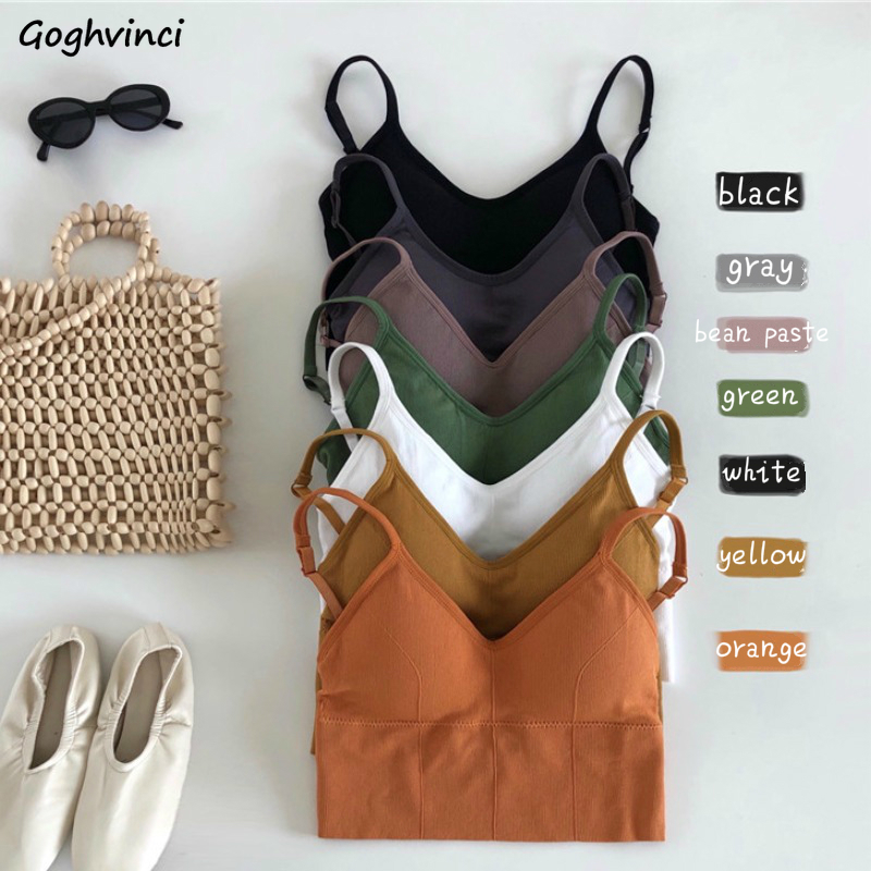 Camisoles Women Summer Spaghetti Strap Removable Chest Pad Sexy Short Womens Tops Solid Knitting Backless Camis Korean-style New