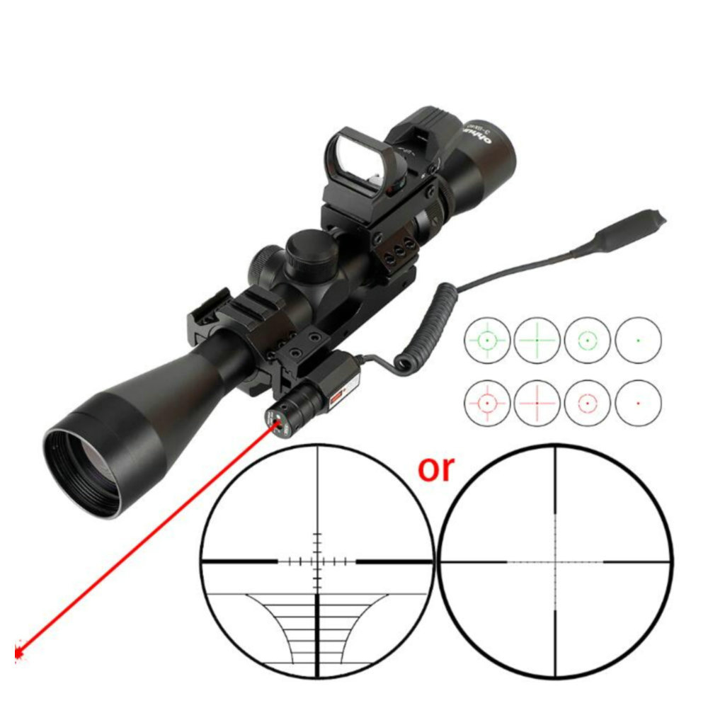 Ohhunt 3-9X40 Hunting Optics Riflescopes Red Laser With Remote Switch Holographic 4 Reticle Sight Combo Tactical Rifle Scope