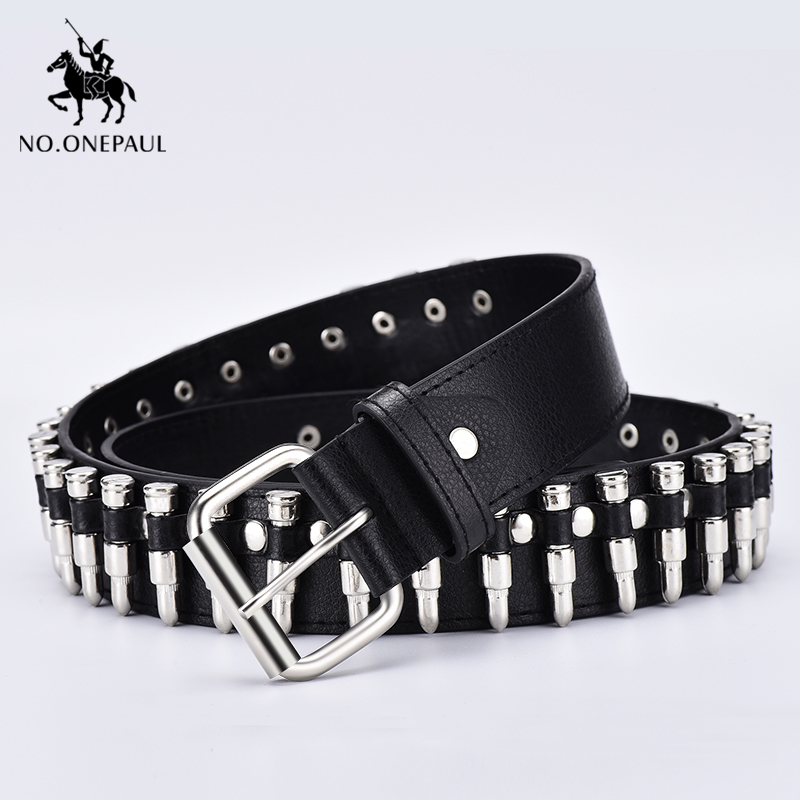 NO.ONEPAUL New Fashion Ladies Leather Punk Belt Hollow Rivet Luxury Brand Belt Personality Rock Wild Adjustable Young Trend Belt