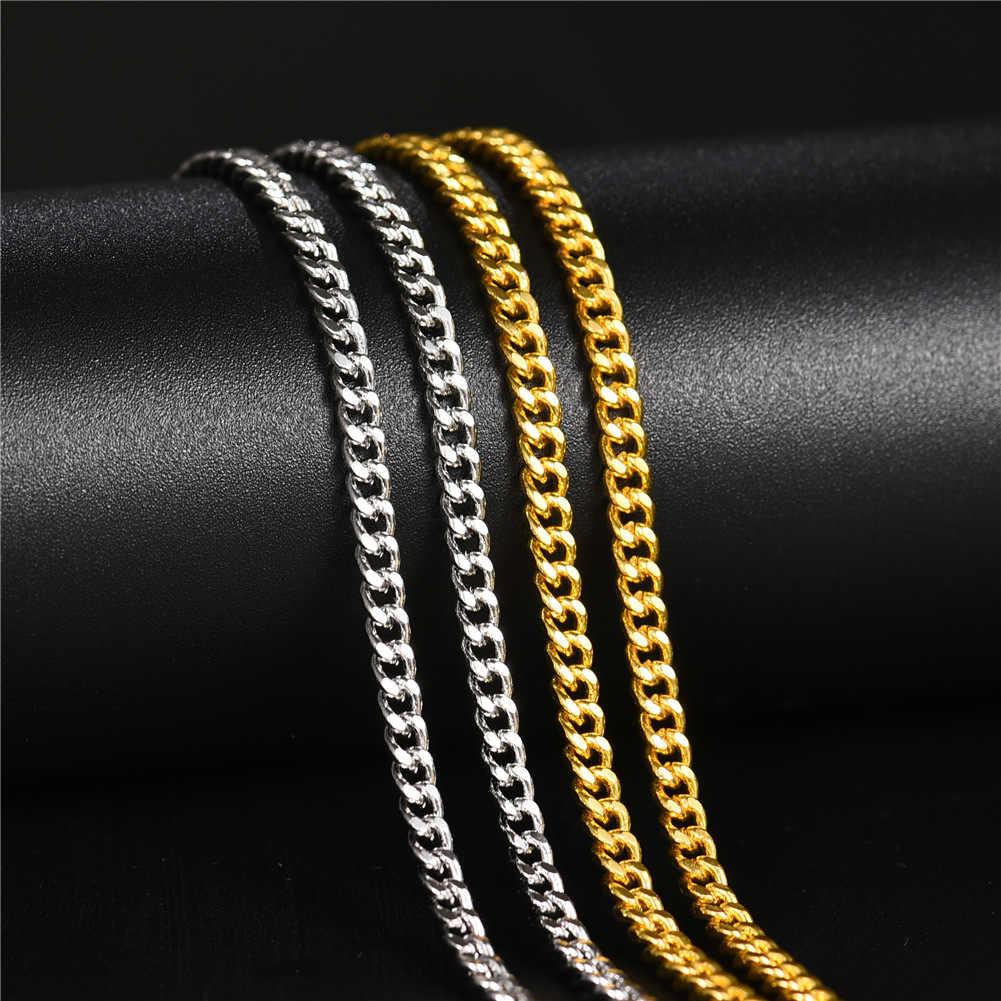 Mężczyźni kubański Chain Link naszyjnik mężczyzna Choker srebrny złoty 3mm 20 Cal 24 Cal prezent dla chłopaka ojciec tata tata