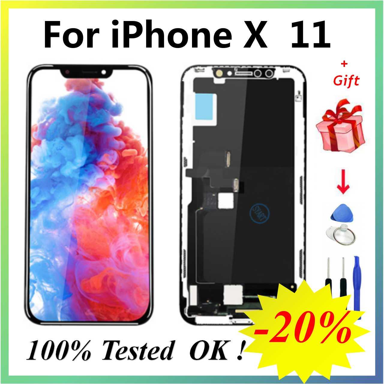 ЖК-дисплей Pantalla для iPhone X ЖК-дисплей OLED для iPhone X XS ЖК-дисплей сенсорный экран дигитайзер сборка для iPhoneX 11 XS Max XR
