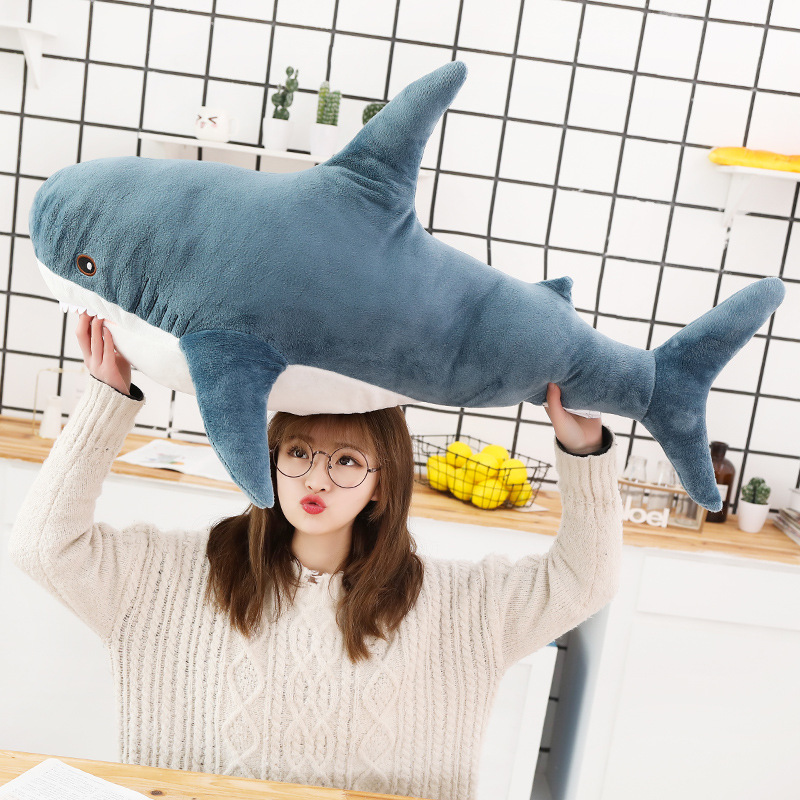 1pcs 80/100CM Big Size Shark Plush Toy Soft Stuffed Speelgoed Animal Reading Pillow For Birthday Gifts Cushion Gift For Ch