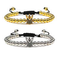 Men Women Bracelet Micro Pave King Queen Crown Braided Gold Beaded Bracelets Bangles Adjustable Couple Jewelry Friendship Gifts