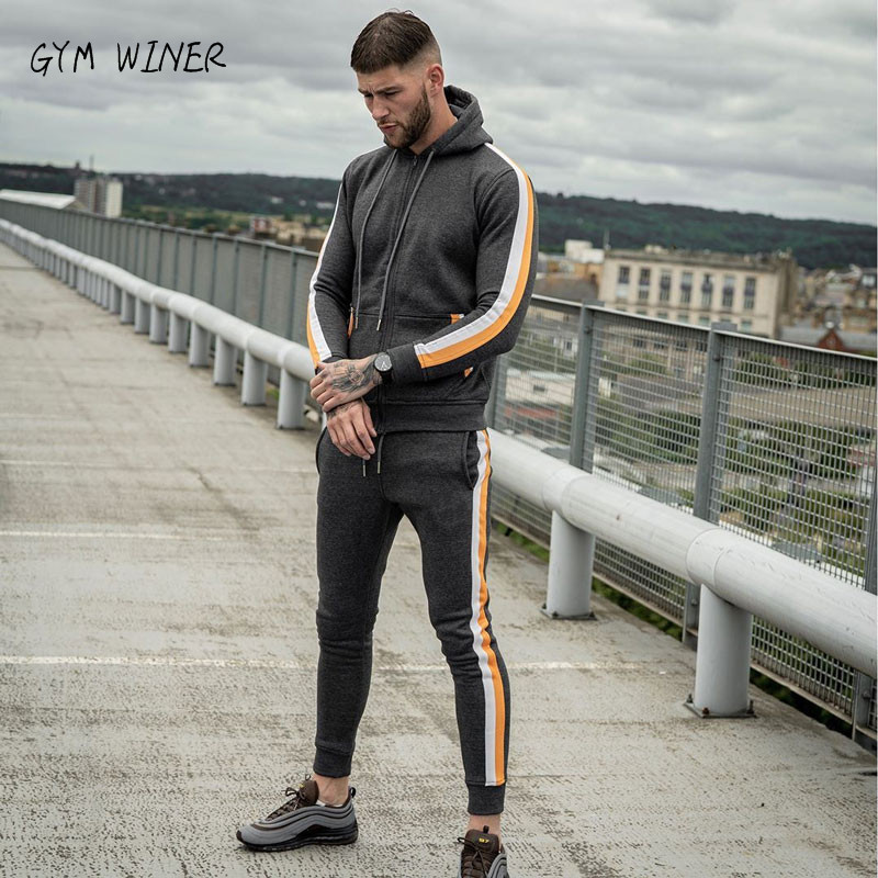 2019 New Winter Tracksuits Men Set Fleece Hoodies+Pants Suit Zipper Hooded Sweatshirt Sportswear Set Male Hoodie Sporting Suits